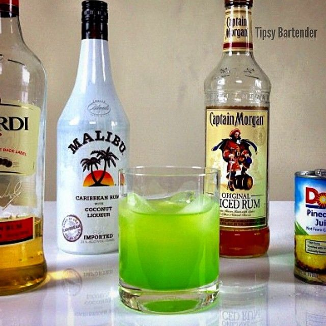 Superman's Kryptonite (1 1/2 oz Spiced Rum 1 1/2 oz Coconut Rum 1 1/2 oz Melon Liqueur 1 1/2 Pineapple Juice 1 oz Bacardi 151)