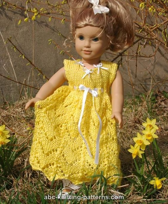 Free Knitting Pattern for 18 inch American Girl Doll Empire Waist Lace Dress
