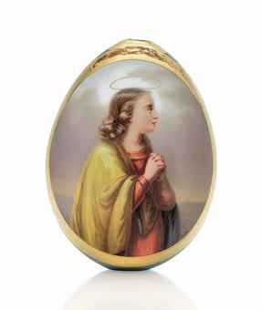 A PORCELAIN EASTER EGG BY THE IMPERIAL PORCELAIN FACTORY, ST PETERSBURG, CIRCA 1860-1880s Ovoid, centring an oval panel depicting Saint Vera in prayer, within a gilt border, the turquoise reverse decorated with ciselé gilt foliage and rocaille arches, unmarked 4¼ in. (10.6 cm.) high