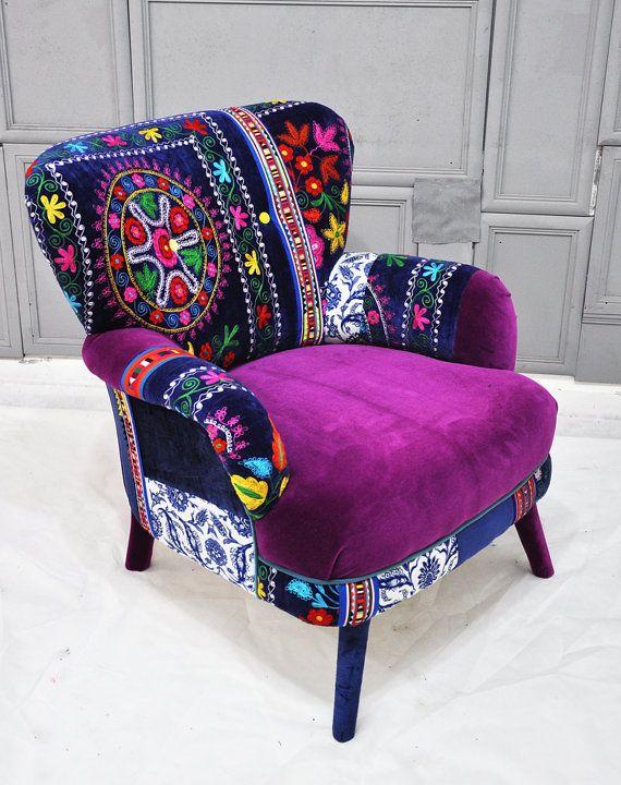 Patchwork armchair with Suzani fabrics on Wanelo