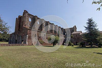 The abandoned church of San Galgano in tuscany