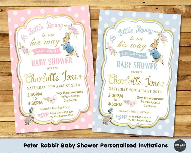 Details About PETER RABBIT BABY SHOWER PERSONALISED INVITATION INVITE CARD  GOLD BOY GIRL