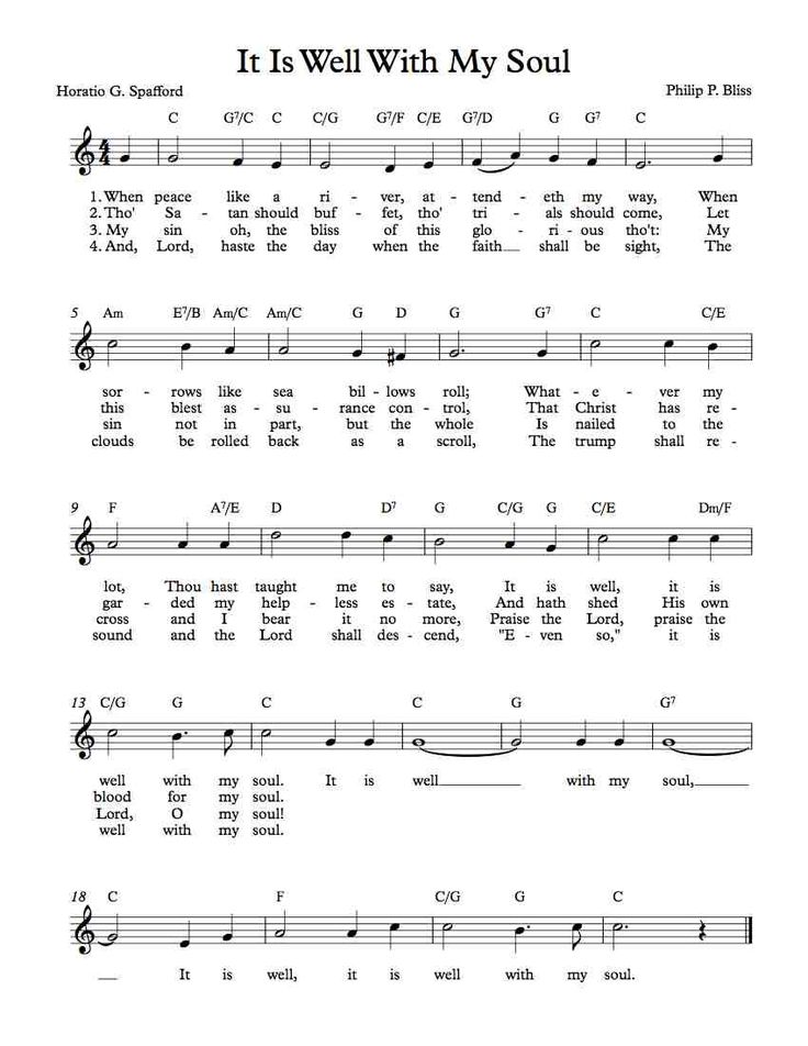 Free Sheet Music - Free Lead Sheet - It Is Well With My Soul