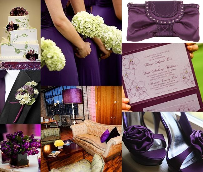 Our wedding colors are eggplant, sage, and lilac.  Bridemaids dresses are eggplant, tuxes will probably be sage, and decor will have lilac accents