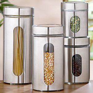 Round Glass Storage Jars, Sets of 2 - Storage Containers modern food containers and storage