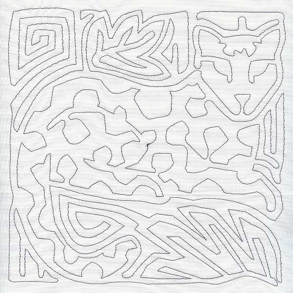 Mola Jaguar Quilting Square Single Run Embroidery And