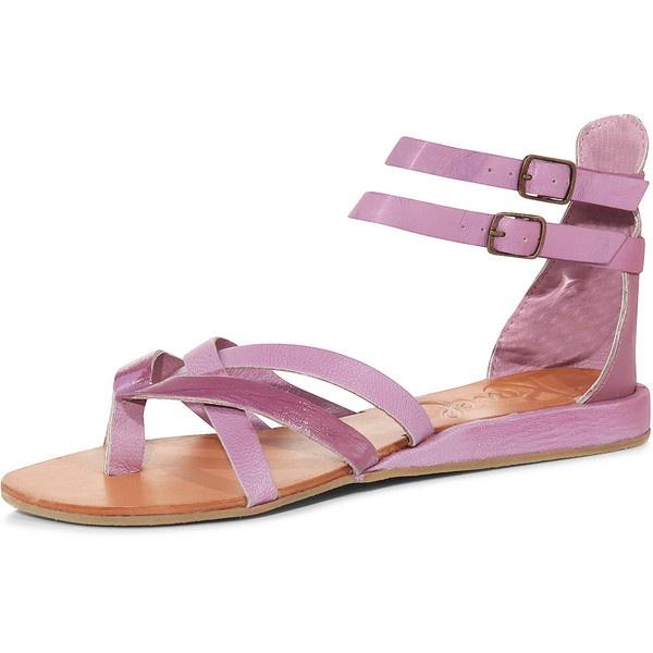 Purple leather toe post sandal ($55) ❤ liked on Polyvore