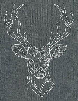 Light Geometric Stitching Makes Up A Majestic Deer Head