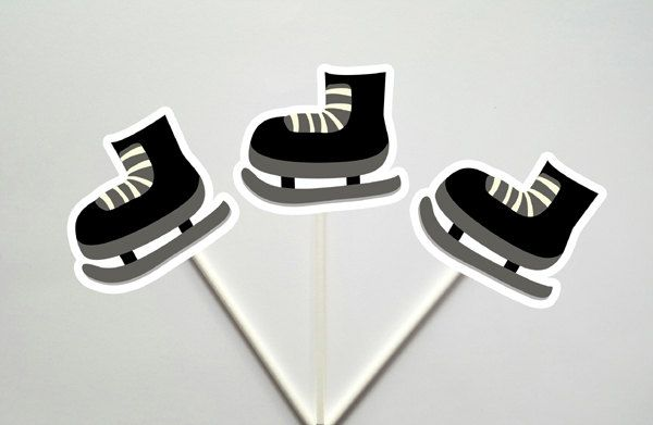 Hockey Cupcake Toppers, Hockey Skate Cupcake Toppers by CraftyCue on Etsy