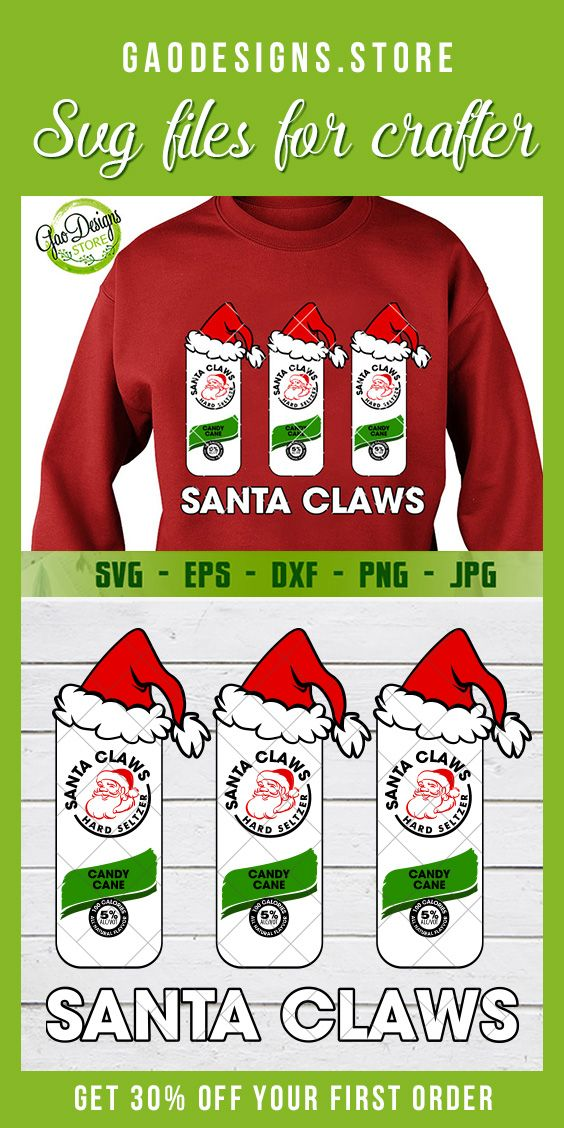 Santa claws white claw svg White Claw Candy Cane SVG