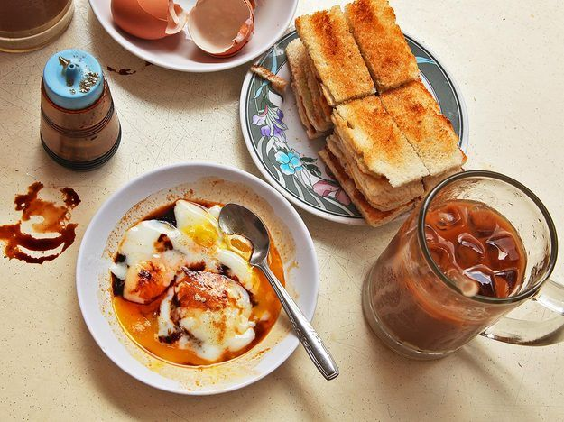 Singapore-Style Soft Cooked Eggs With Kaya Jam and Toast one of Singapore's staple breakfasts: kaya toast served with soft boiled eggs and strong coffee sweetened with sugar and evaporated milk