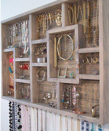 DIY Creative Jewelry Organization ~ add cup hooks to a vintage type tray.