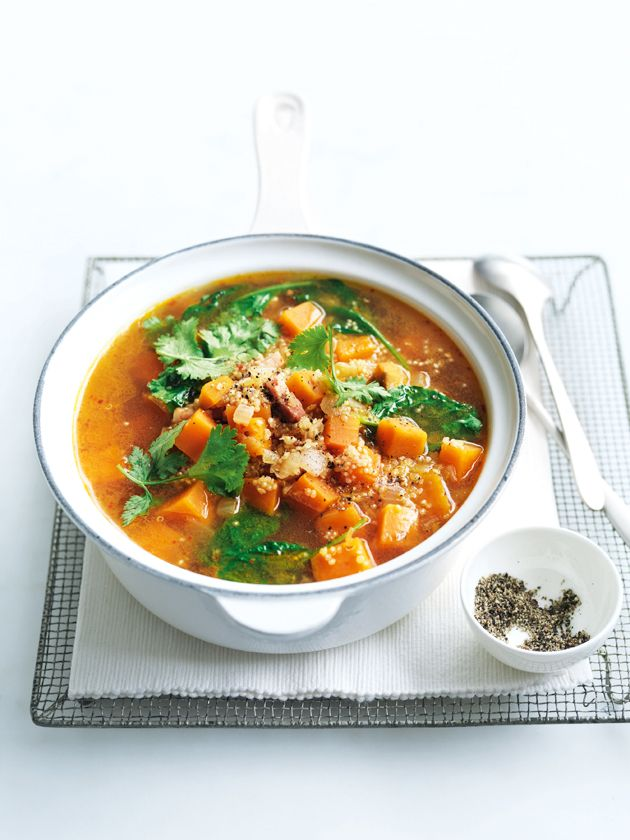 spicy sweet potato, quinoa and speck soup