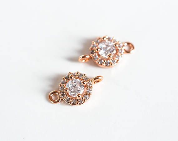 2988 Rose gold connector 10mm CZ connector Gold plated pendant