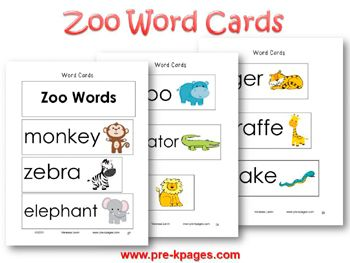 Zoo Word Cards for Vocabulary Development in pre-k and kindergarten