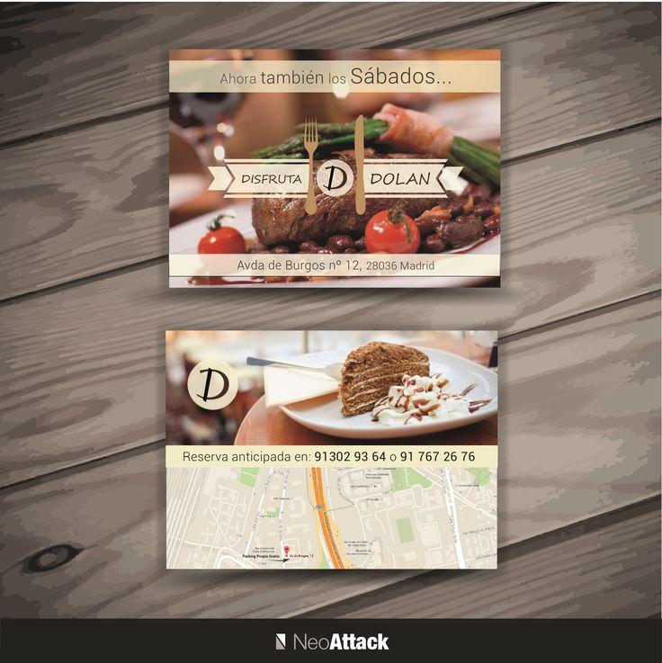 Diseño de flyers publicitarios al restaurante Dolan. Realizado por NeoAttack