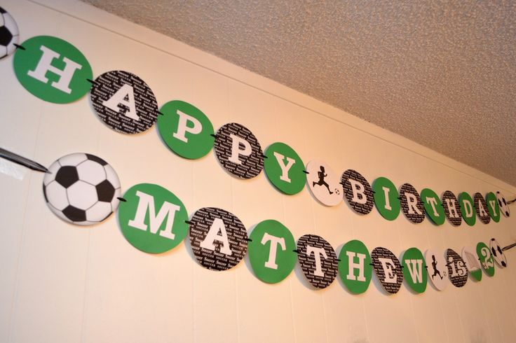 Soccer Birthday Party - Handmade Banner  Visit www.partyzilla.com.au for Kids Party Supplies, Gifts and more!