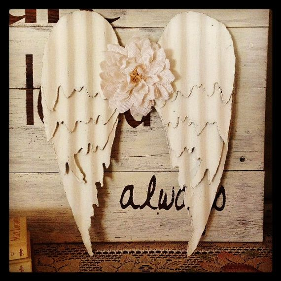 Distressed Vintage White Barn Tin Angel Wings on Etsy, $45.00