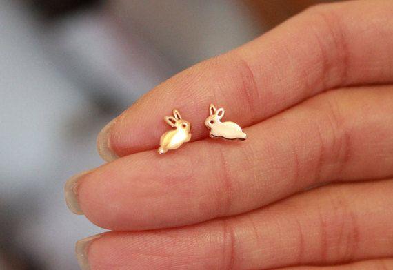 Bunny Stud EarringsRose Gold Rabbit Stud by GreatJewelry4All