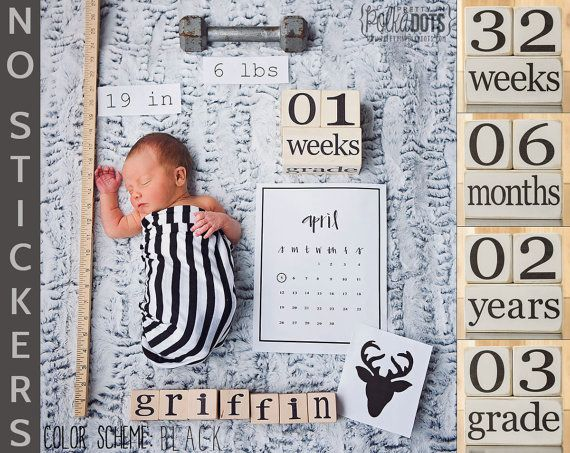 Baby Age Blocks - NO STICKERS - Distressed White - Months, Years, Weeks, Grade - Low VOC Non-Toxic Paint