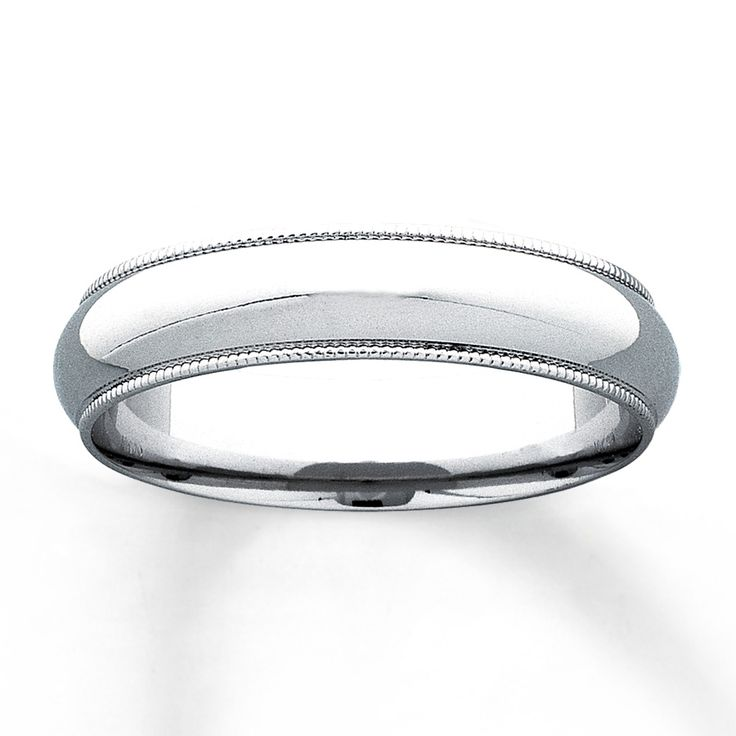 This 10K white gold 5mm wedding band for him features milgrain edge detailing. The ring has a Supreme-Fit™ band for more comfortable and durable wear. From the Now & Forever® Bridal Collection.  Available online while supplies last.