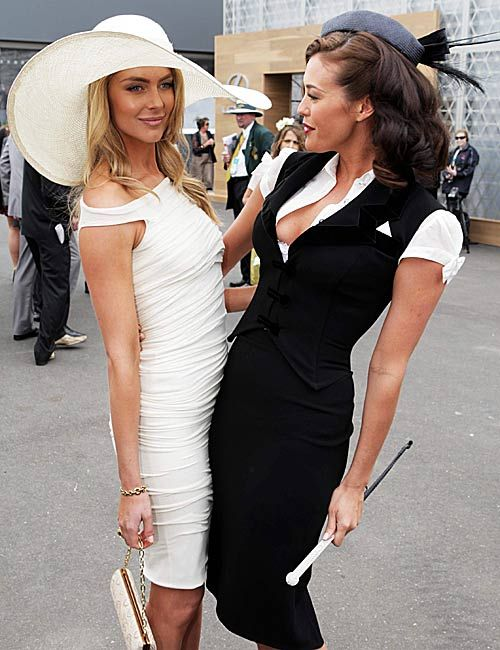 Derby Day fashion | models Jennifer Hawkins (l) and Megan Gale were all smiles at Derby Day.