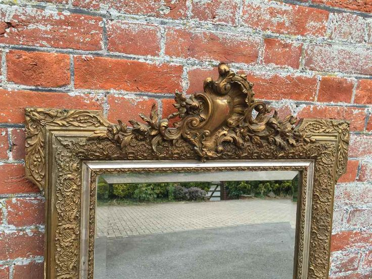 A Highly useful size Antique 19th Century French original carved wood & gesso silver,gilt Mirror.