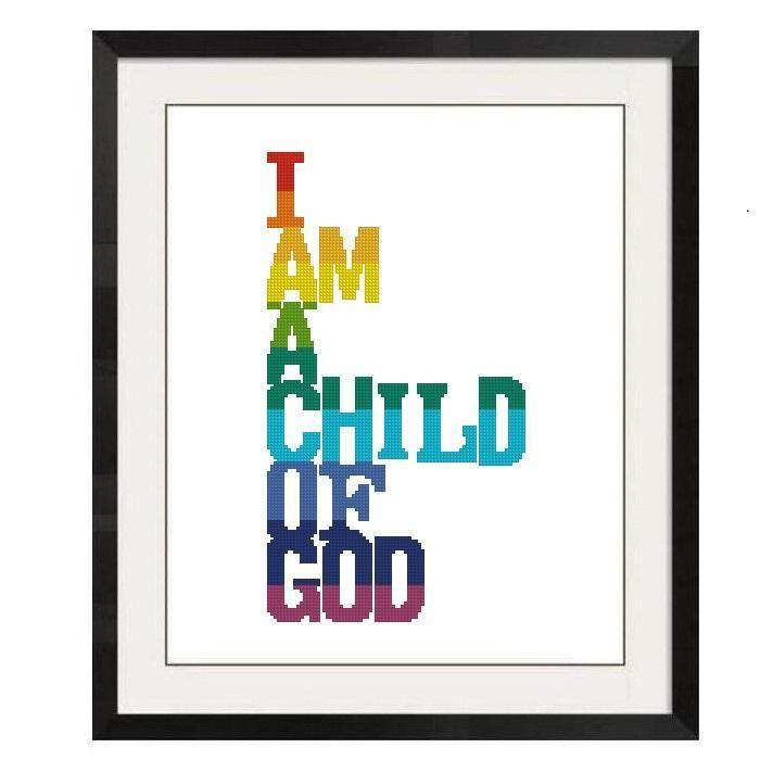 (10) Name: 'Embroidery : I am a Child of God Cross Stitch -715