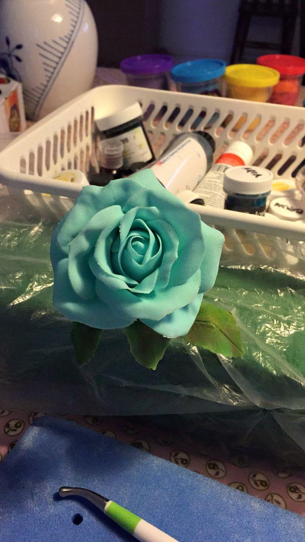 Fondant rose turqouise