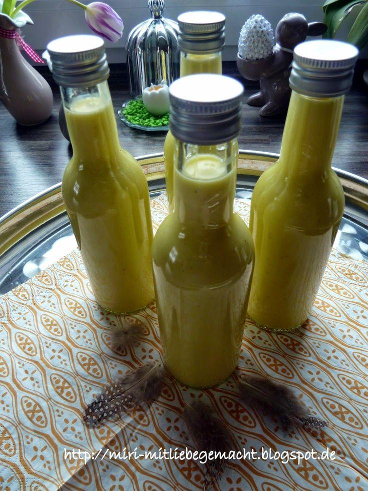 Orangen-Eierlikör aus dem TM31/T5, Kleine Geschenke zu Ostern, Likör selbstgemacht, Stampin Up, Flaschen hübsch gepimpt Kreatives aus der Küche, Geschenke aus der Küche