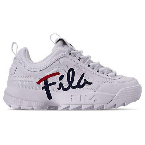 1f48e3d987c FILA WOMEN'S DISRUPTOR II PREMIUM SCRIPT CASUAL SHOES, WHITE. #fila #shoes