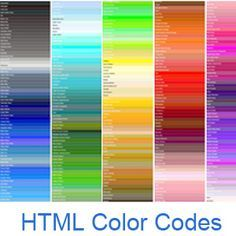 HTML color codes, color names, and color chart with all hexadecimal, RGB, HSL, color ranges, and swatches.