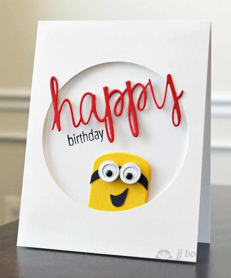 handmade card: Avery Elle: Happy Birthday ... porthole design format ... minion peeking out ... die cut happy in red script font ... sharp graphic look ...
