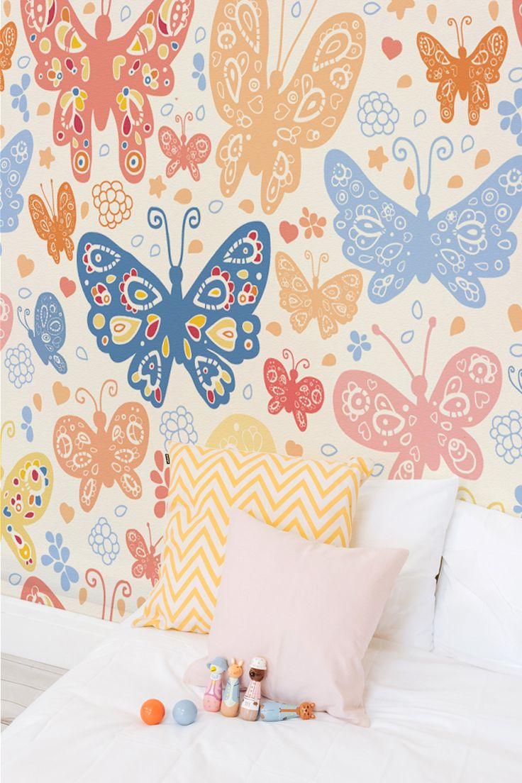 Blue And Orange Butterflies Wall Mural