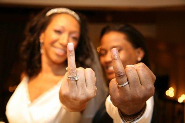 butch femme lesbian wedding photo. love the pseudo flip-off!!