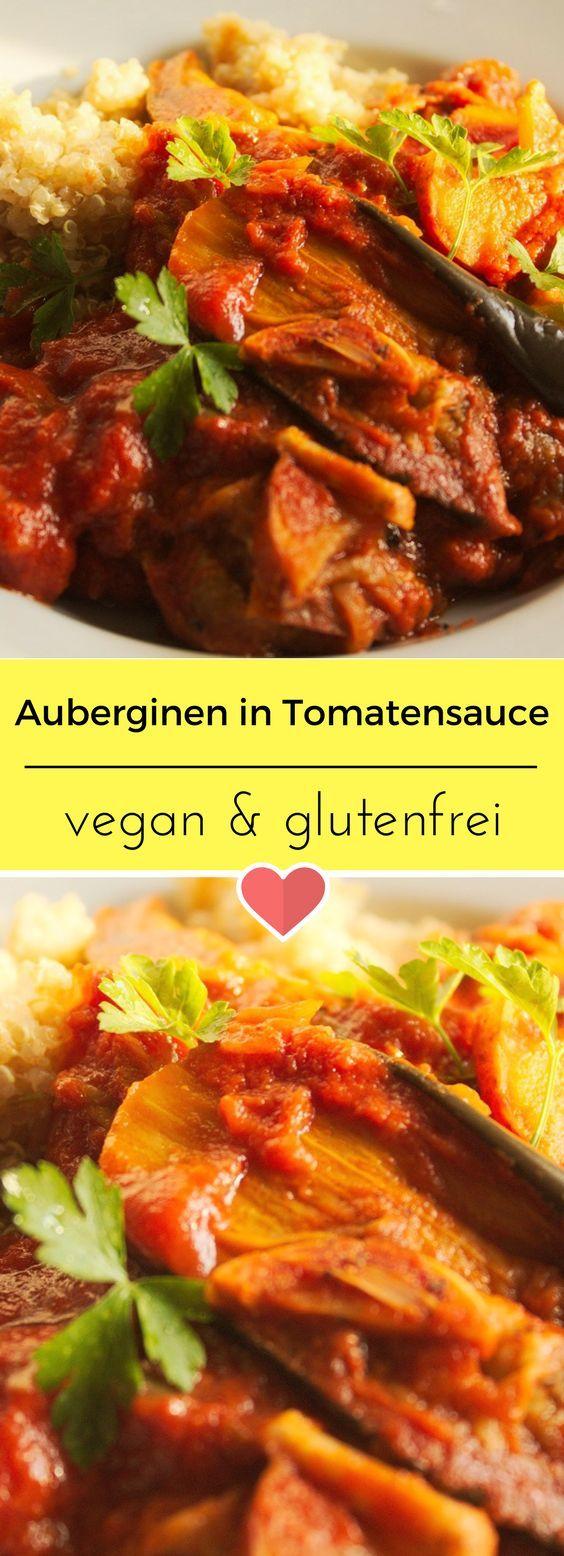 Ein herrliches Rezept aus Zypern. Auberginen in Tomatensauce vegan und glutenfrei. #vegan #veganfood #auberginen #tomatensauce #glutenfrei #glutenfree #zypern #rezept #recipe