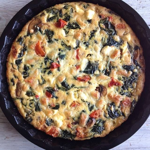 Homemade frittata / Spinach, feta cheese, sundried tomatoes and fresh ...