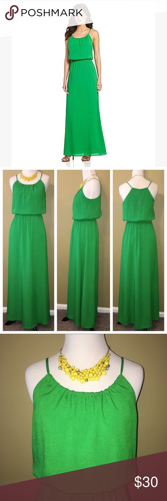 Gianni Bini Green maxi dress XS Beautiful kelly green maxi dress by Gianni Bini. Features cinch-able neckline and small key hole back. Size XS. Gianni Bini Dresses Maxi