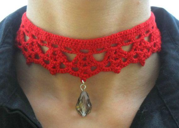 crochet choker necklace by AmoreefantasiaRegali on Etsy