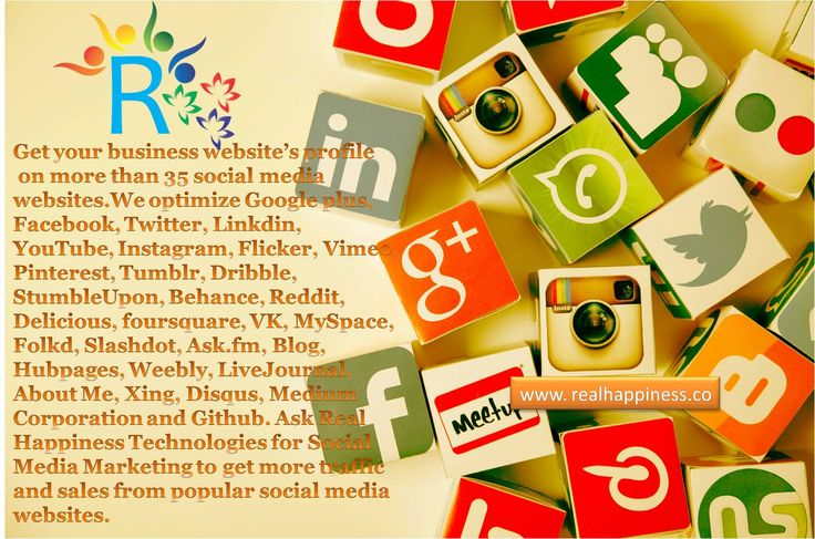 Social Media Marketing in Dehradun, India Real Happiness Technologies Private Limited is leading company in Rishikesh with the services of Social Media Marketing. We at Real Happiness Technologies provides social media promotions on top 30 social networks like Facebook, Twitter, Google-Plus, Linkedin, YouTube, Blogger, Tumblr, Instagram, Flickr, StumbleUpon, Pinterest, VK, Ask.FM, Reddit, and others. http://realhappiness.co/