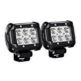 "#6: Nilight 2PCS 18W 1260lm Spot Driving Fog Light Off Road Led Lights Bar Mounting Bracket for SUV Boat 4"" Jeep Lamp,2 years Warranty"