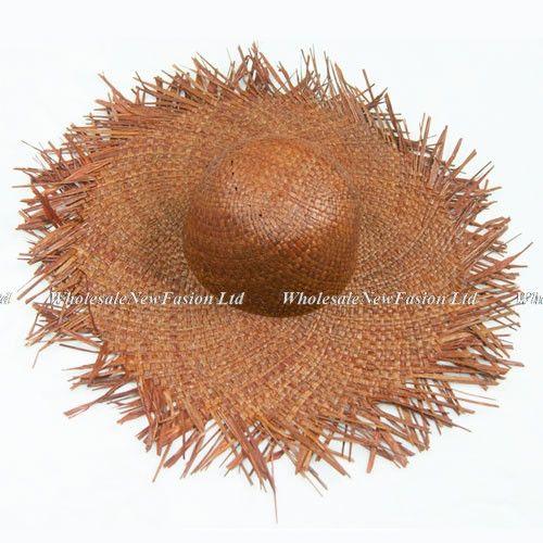 Wholesale 6pcs Women Natural Wide Brim Raffia Straw Hats Fringe Women Plain Large Beach Summer Sun Caps Big Straw Cap
