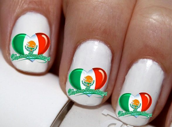 Best 25 mexican nails ideas on pinterest skull nails art of 20 pc mexican sweetheart heart mexico flag heart nail art nail decals cg3184na prinsesfo Image collections