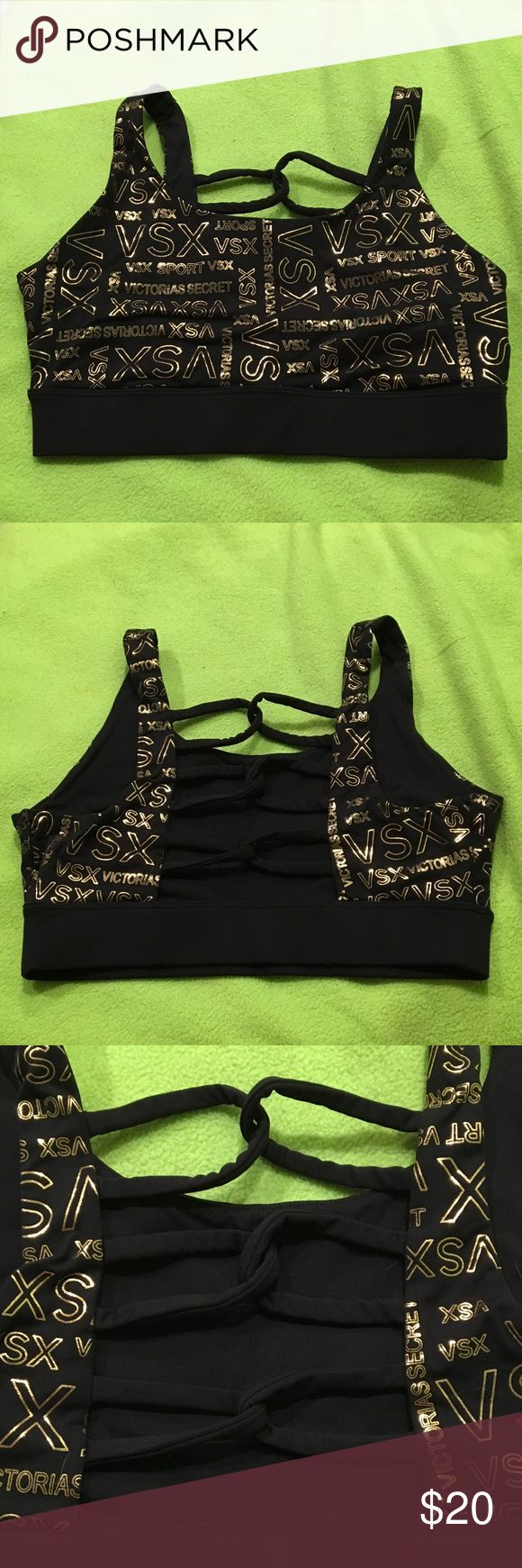 VSX Sexy Sports Bra Black sports bra with looped back (pictured) and gold shiny lettering all over. Worn three times in very good condition. Is tagged as a size medium but runs small so I have it listed as a small. Victoria's Secret Intimates & Sleepwear Bras