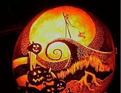 Nightmare before christmas carved pumpkin