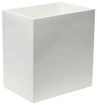 Jonathan Adler Lacquer Wastebasket White - modern - Waste Baskets - Zinc Door