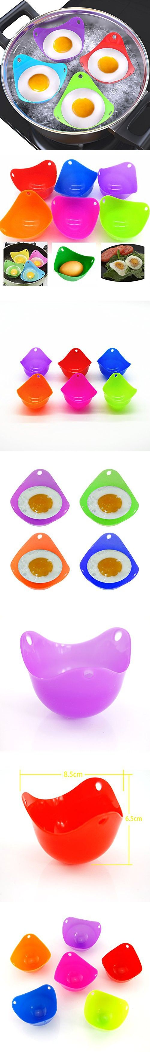 ESport 6 Pieces Silicone Egg Poacher Cups, Unique Colorful Egg Boiler Cookware Poaching Pouches - Replace Your Microwave Egg Poacher