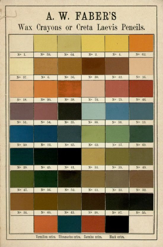 1897 crayon colors - lovely colors for chalk paint tints!