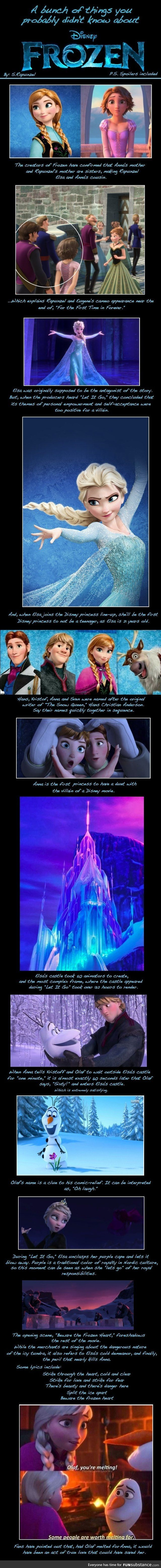 A whole lot of things you didn't realize about Frozen.  Facts about Frozen you missed.