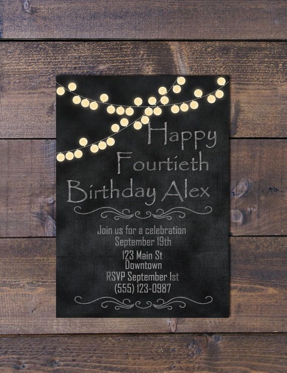 Simple chalkboard with light string invitation